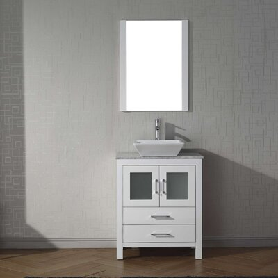Cartagena 28 Single Bathroom Vanity Set with White Marble Top and Mirror Base Finish: White, Faucet Finish: Polished Chrome