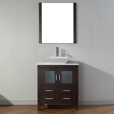 Cartagena 30 Single Bathroom Vanity Set with White Stone Top and Mirror Base Finish: Espresso