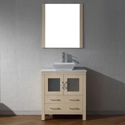 Cartagena 30 Single Bathroom Vanity Set with White Stone Top and Mirror Base Finish: Light Oak