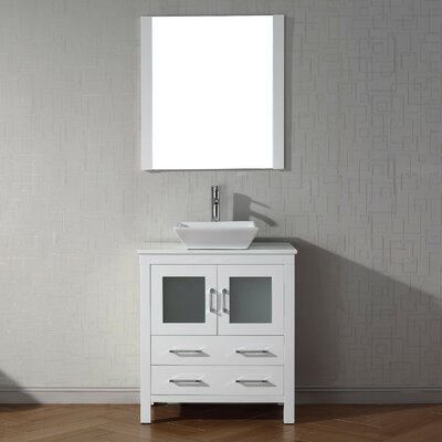 Cartagena 30 Single Bathroom Vanity Set with White Stone Top and Mirror Base Finish: White