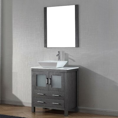 Cartagena 30 Single Bathroom Vanity Set with White Stone Top and Mirror Base Finish: Zebra Gray