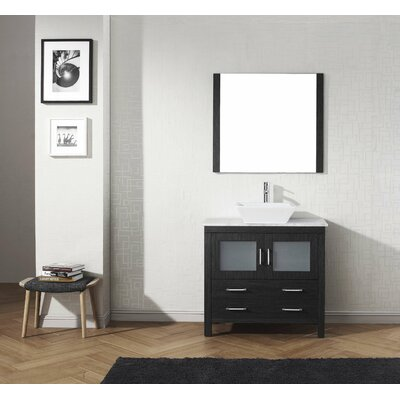 Frausto 32 Single Bathroom Vanity Set with White Marble Top and Mirror Base Finish: Zebra Gray