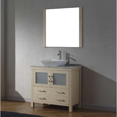 Cartagena 32 Single Bathroom Vanity Set with White Marble Top and Mirror Base Finish: Light Oak