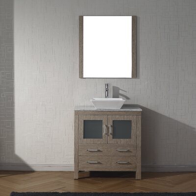 Frausto 32 Single Bathroom Vanity Set with White Marble Top and Mirror Base Finish: Dark Oak