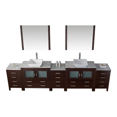 Cartagena 125 Double Bathroom Vanity Set with White Marble Top and Mirror Base Finish: Espresso, Faucet Finish: Brushed Nickel