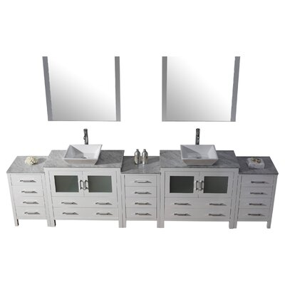 Cartagena 125 Double Bathroom Vanity Set with White Marble Top and Mirror Base Finish: White, Faucet Finish: Polished Chrome