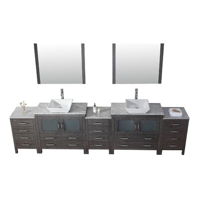 Frausto 125 Double Bathroom Vanity Set with White Marble Top and Mirror Base Finish: Zebra Gray, Faucet Finish: Brushed Nickel