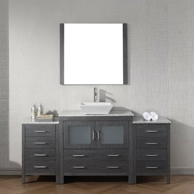 Cartagena 67 Single Bathroom Vanity Set with White Marble Top and Mirror Base Finish: Zebra Gray