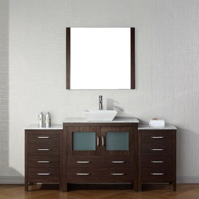 Cartagena 67 Single Bathroom Vanity Set with White Marble Top and Mirror Base Finish: Espresso
