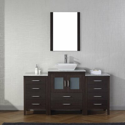 Frausto 60 Single Bathroom Vanity Set with White Marble Top and Mirror Base Finish: Espresso