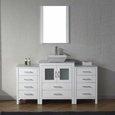 Cartagena 60 Single Bathroom Vanity Set with White Marble Top and Mirror Base Finish: White