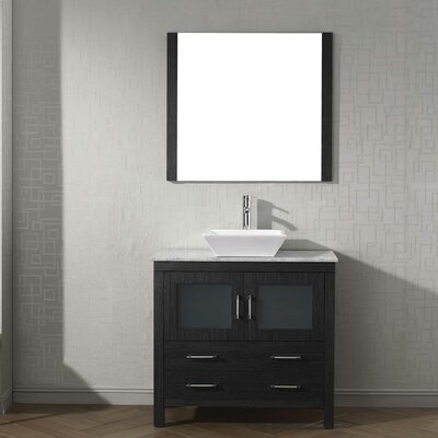 Frausto 36 Single Bathroom Vanity Set with White Marble Top and Mirror Base Finish: Zebra Gray, Faucet Finish: Polished Chrome