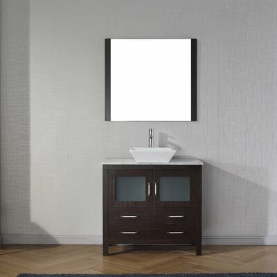 Frausto 36 Single Bathroom Vanity Set with White Marble Top and Mirror Base Finish: Espresso, Faucet Finish: Brushed Nickel