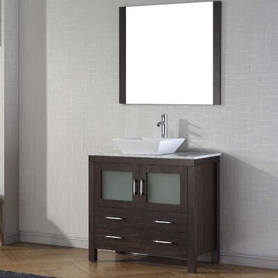 Cartagena 36 Single Bathroom Vanity Set with White Marble Top and Mirror Base Finish: Espresso, Faucet Finish: Brushed Nickel