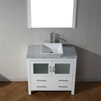 Frausto 36 Single Bathroom Vanity Set with White Marble Top and Mirror Base Finish: White, Faucet Finish: Brushed Nickel