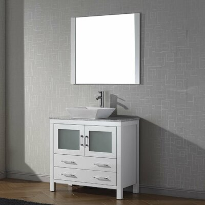 Cartagena 36 Single Bathroom Vanity Set with White Marble Top and Mirror Base Finish: White, Faucet Finish: Polished Chrome