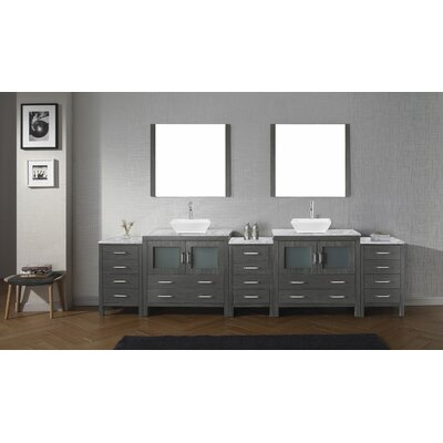 Cartagena 117 Double Bathroom Vanity Set with White Marble Top and Mirror Base Finish: Zebra Gray