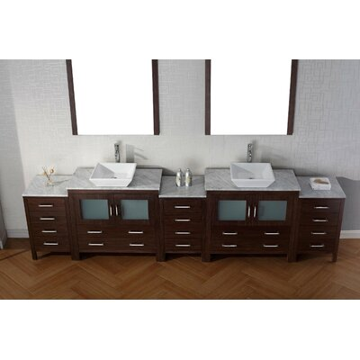 Cartagena 117 Double Bathroom Vanity Set with White Marble Top and Mirror Base Finish: Espresso