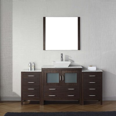 Cartagena 72 Single Bathroom Vanity Set with White Marble Top and Mirror Base Finish: Espresso