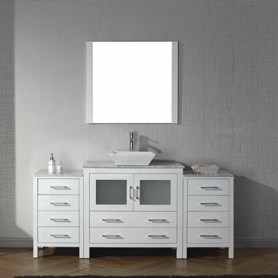 Frausto 72 Single Bathroom Vanity Set with White Marble Top and Mirror Base Finish: White