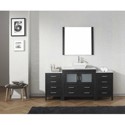 Cartagena 72 Single Bathroom Vanity Set with White Marble Top and Mirror Base Finish: Zebra Gray