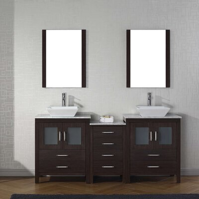 Cartagena 67 Double Bathroom Vanity Set with White Marble Top and Mirror Base Finish: Espresso