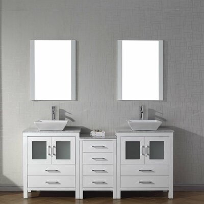 Frausto 67 Double Bathroom Vanity Set with White Marble Top and Mirror Base Finish: White