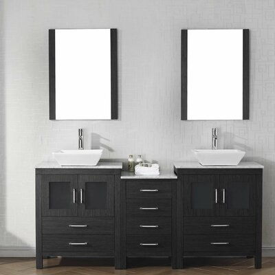 Cartagena 67 Double Bathroom Vanity Set with White Marble Top and Mirror Base Finish: Zebra Gray