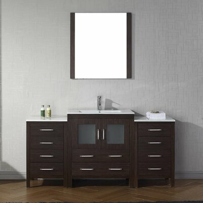 Frausto 66 Single Bathroom Vanity Set with Ceramic Top and Mirror Base Finish: Espresso
