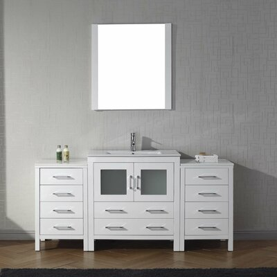 Cartagena 66 Single Bathroom Vanity Set with Ceramic Top and Mirror Base Finish: White