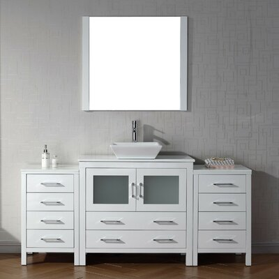 Cartagena 71 Single Bathroom Vanity Set with White Stone Top and Mirror Base Finish: White, Faucet Finish: Polished Chrome