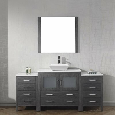 Cartagena 71 Single Bathroom Vanity Set with White Stone Top and Mirror Base Finish: Zebra Gray, Faucet Finish: Brushed Nickel