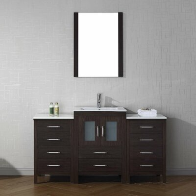 Cartagena 60 Single Bathroom Vanity Set with Mirror Base Finish: Espresso