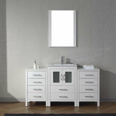 Cartagena 60 Single Bathroom Vanity Set with Mirror Base Finish: White