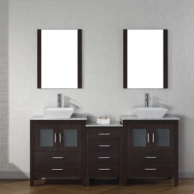 Cartagena 75 Double Bathroom Vanity Set with White Marble Top and Mirror Base Finish: White, Faucet Finish: Polished Chrome
