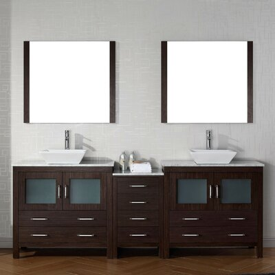 Frausto 91 Double Bathroom Vanity Set with White Marble Top and Mirror Base Finish: Espresso, Faucet Finish: Polished Chrome