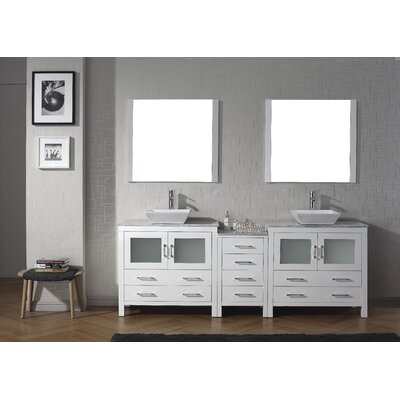 Cartagena 91 Double Bathroom Vanity Set with White Marble Top and Mirror Base Finish: White, Faucet Finish: Polished Chrome