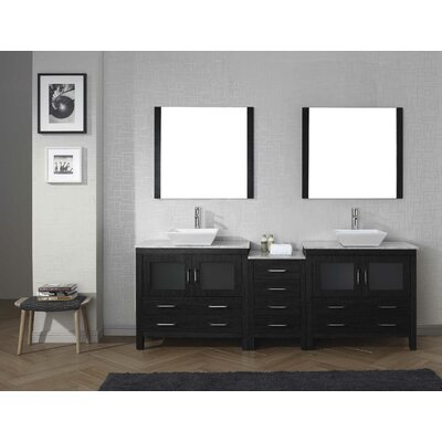 Frausto 91 Double Bathroom Vanity Set with White Marble Top and Mirror Base Finish: Zebra Gray, Faucet Finish: Brushed Nickel