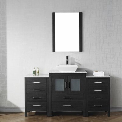 Frausto 64 Single Bathroom Vanity Set with White Marble Top and Mirror Base Finish: Zebra Gray, Faucet Finish: Brushed Nickel
