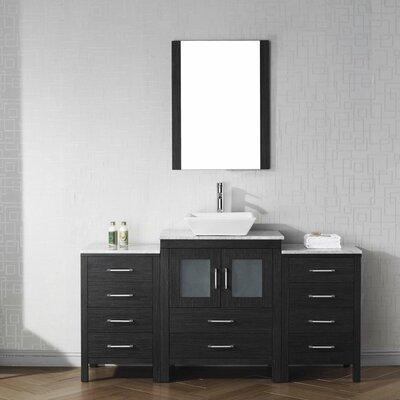 Cartagena 64 Single Bathroom Vanity Set with White Marble Top and Mirror Base Finish: Zebra Gray, Faucet Finish: Polished Chrome