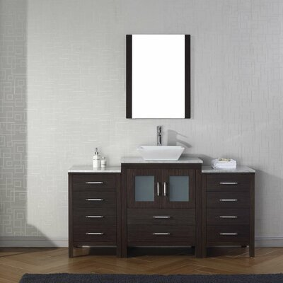 Cartagena 64 Single Bathroom Vanity Set with White Marble Top and Mirror Base Finish: Espresso, Faucet Finish: Brushed Nickel
