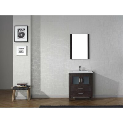 Frausto 28 Single Bathroom Vanity Set with White Top and Mirror