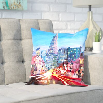 Markus Bleichner Degraw San Francisco Columbus St. with Cafe Vesuvio and Transamerica at Dawn Throw Pillow Size: 18 H x 18 W x 2 D