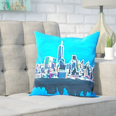 Markus Bleichner Buttram NYC Wtc1 Shimmering Skyline Throw Pillow Size: 16 H x 16 W x 2 D