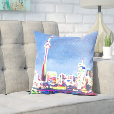 Markus Bleichner Isom Neon Shimmering Skyline Throw Pillow Size: 18 H x 18 W x 2 D
