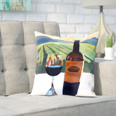 Markus Bleichner Belser Napa Valley Wine Bottle and Glass Throw Pillow Size: 18 H x 18 W x 2 D