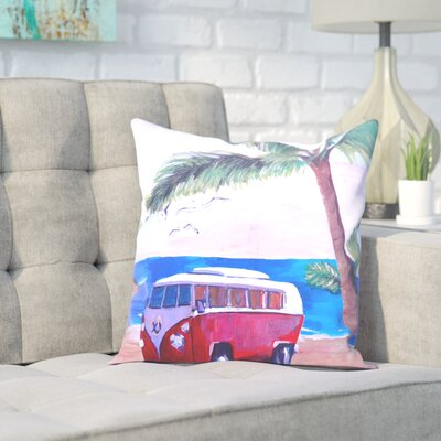 Markus Bleichner Miesner Surf Bus Under Palms at Dream Beach Spot Throw Pillow Size: 20 H x 20 W x 2 D