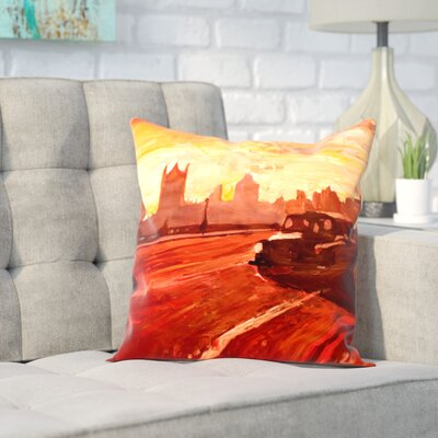 Markus Bleichner Haglund London Bus Dusk Throw Pillow Size: 18 H x 18 W x 2 D