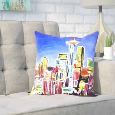 Markus Bleichner Bongiorno Neon Shimmering Seattle Skyline Throw Pillow Size: 20 H x 20 W x 2 D