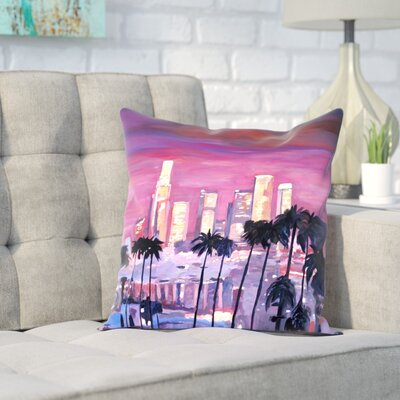 Markus Bleichner Hittle Los Angelese Golden Skyline 3 Throw Pillow Size: 18